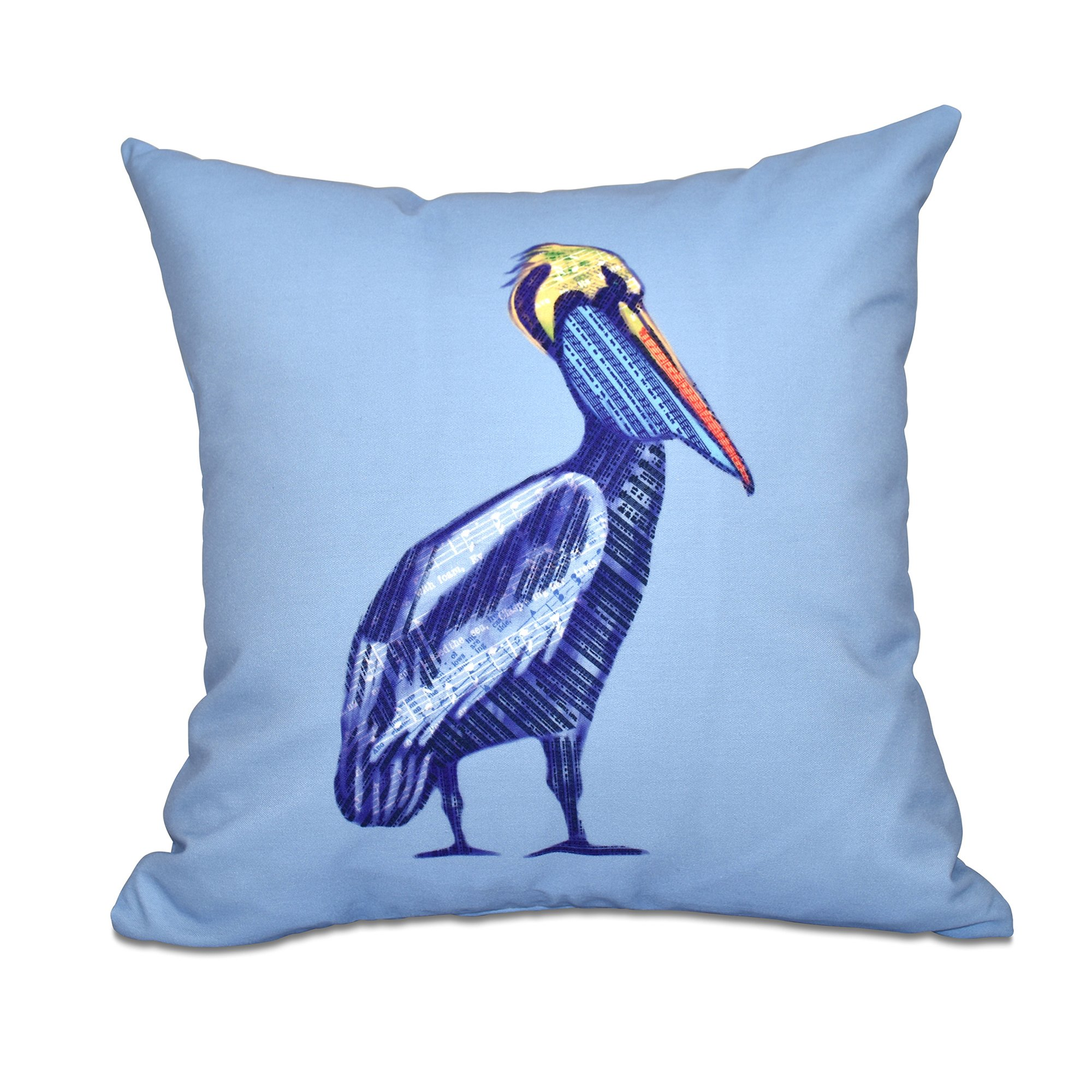 E by design 16 x 16 inch, Sea Music, Animal Print Pillow, Blue
