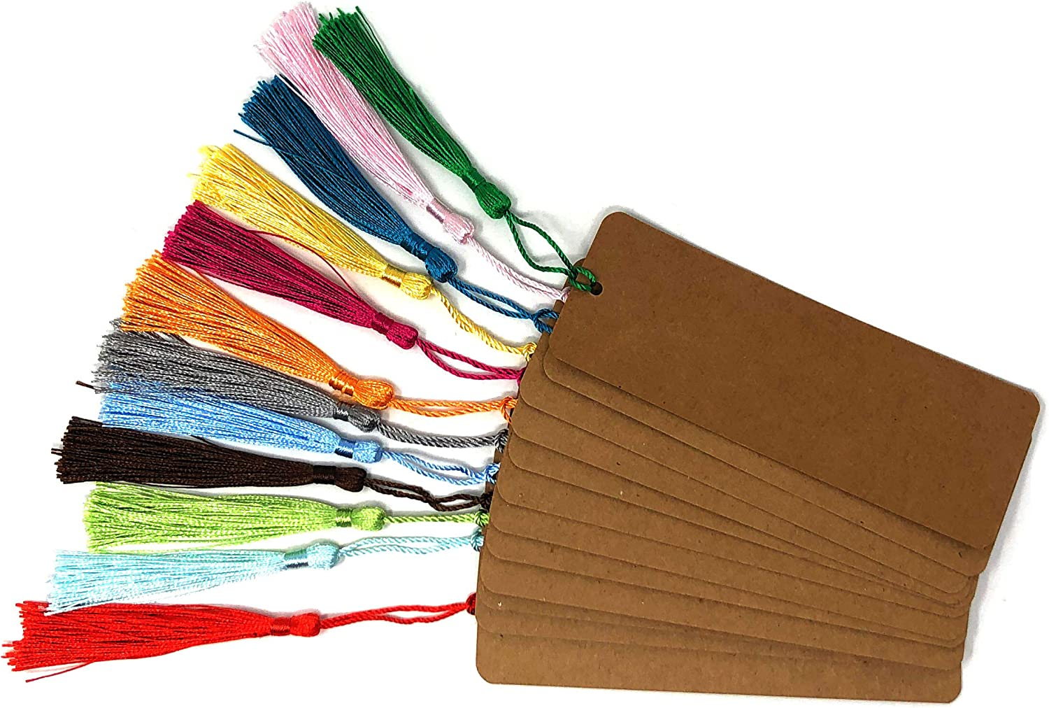 Crafts 5.5 x 2 inch School Supply Rusoji 24pcs Blank White and Brown Kraft Paper Cardstock Bookmarks with Colorful Tassels for DIY Art Projects Tags for Gifts Stationery