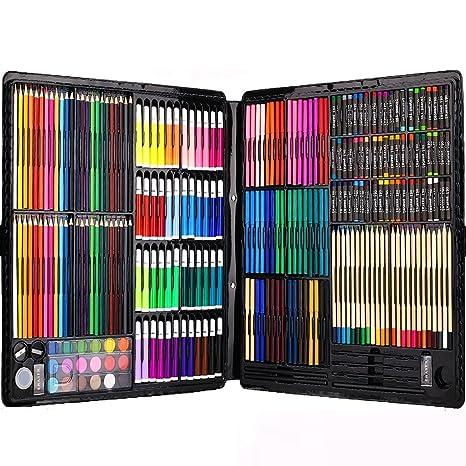 258 piezas Creatividad Art Set para niños dibujo y pintura (acuarela, lápices de colores, marcadores de colores, lápices de colores)