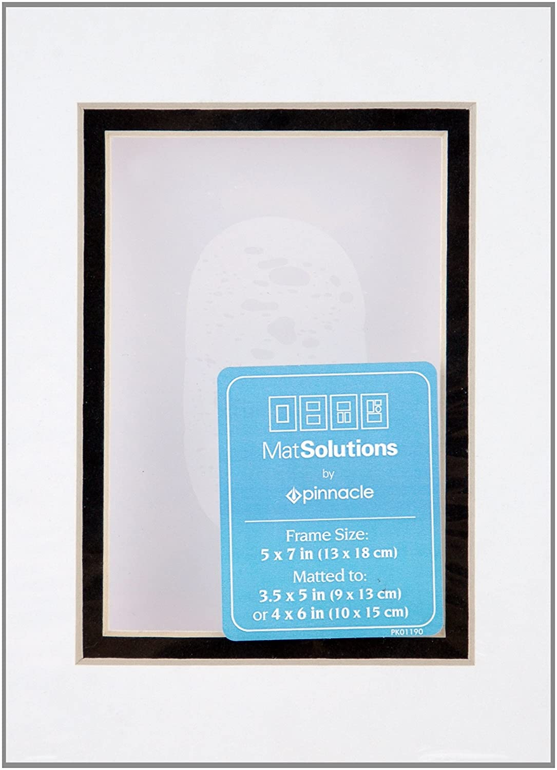 Gallery Solutions White and Black Custom Bevel Cut Double Mat for 11x14 Picture Frame with 8x10 Opening NBG Home DM1114WB