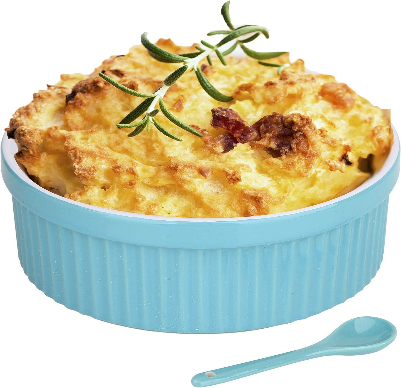 Souffle Dish Ramekins for Baking – 32 Oz, 1 Quart Large Ceramic Oven Safe Round Fluted Bowl with Mini Condiment Spoon for Soufflé Pot Pie Casserole Pasta Roasted Vegetables Desserts (Aqua/Green Set)