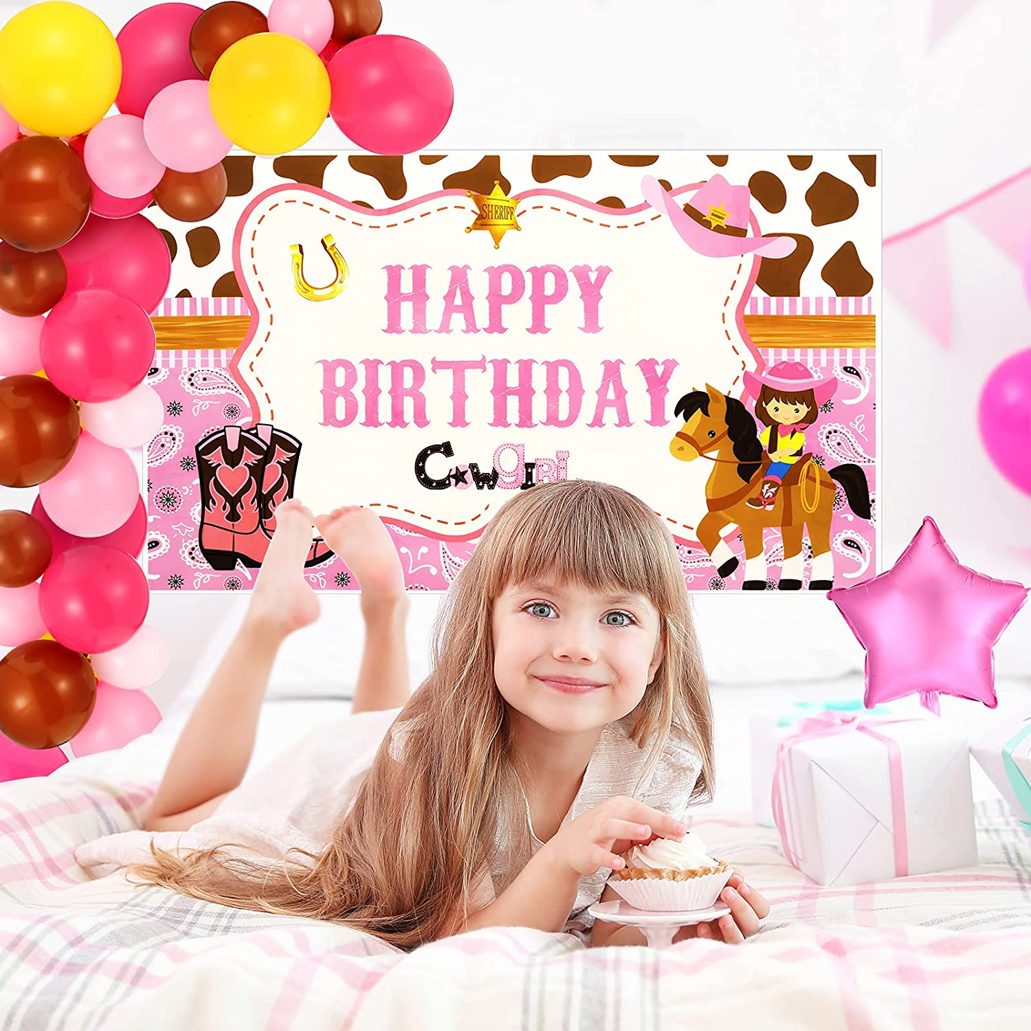 85 Pieces Cowgirl Themed Party Decoration Set Includes Cowgirl Themed Party Backdrop and Pink Star Foil Balloon Horse Latex Balloons Colorful Latex Balloons for Birthday Party Baby Shower