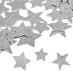 6 Pack Foam Letter Stickers Glitter Silver Star Planner Stickers Cute Photo Stickers Laptop Stickers Happy Planner Stickers for DIY Arts and Crafts,Daily Planner (Silver Star)
