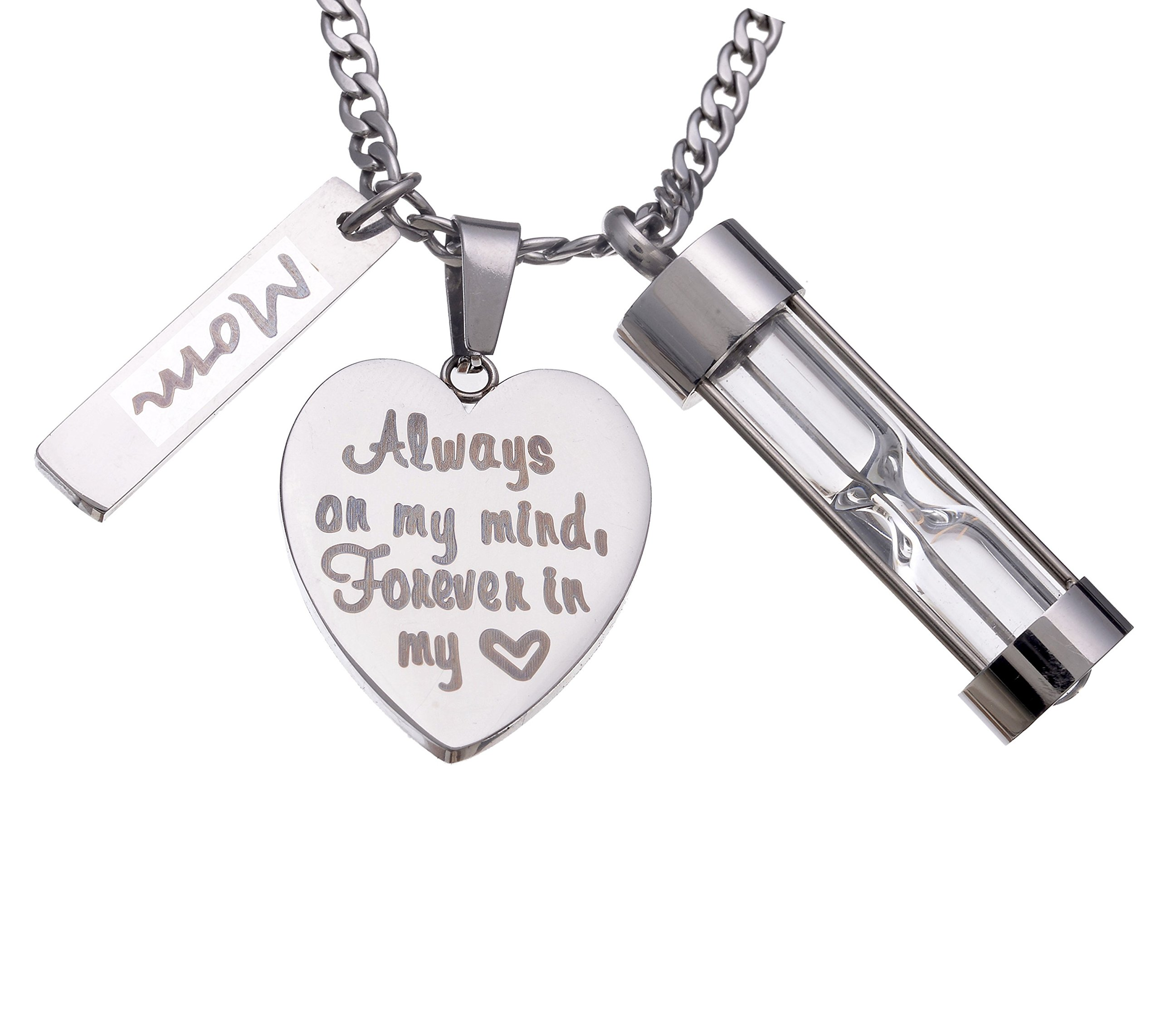 Stainless Steel Hourglass Ashes Urn Memorial for Mom Keepsake Pendant Necklace,Always on my Mind Forever in my Heart