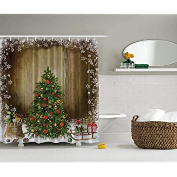 Ambesonne Shower Curtain Collection by, Ocean Decor Fall Wooden ...