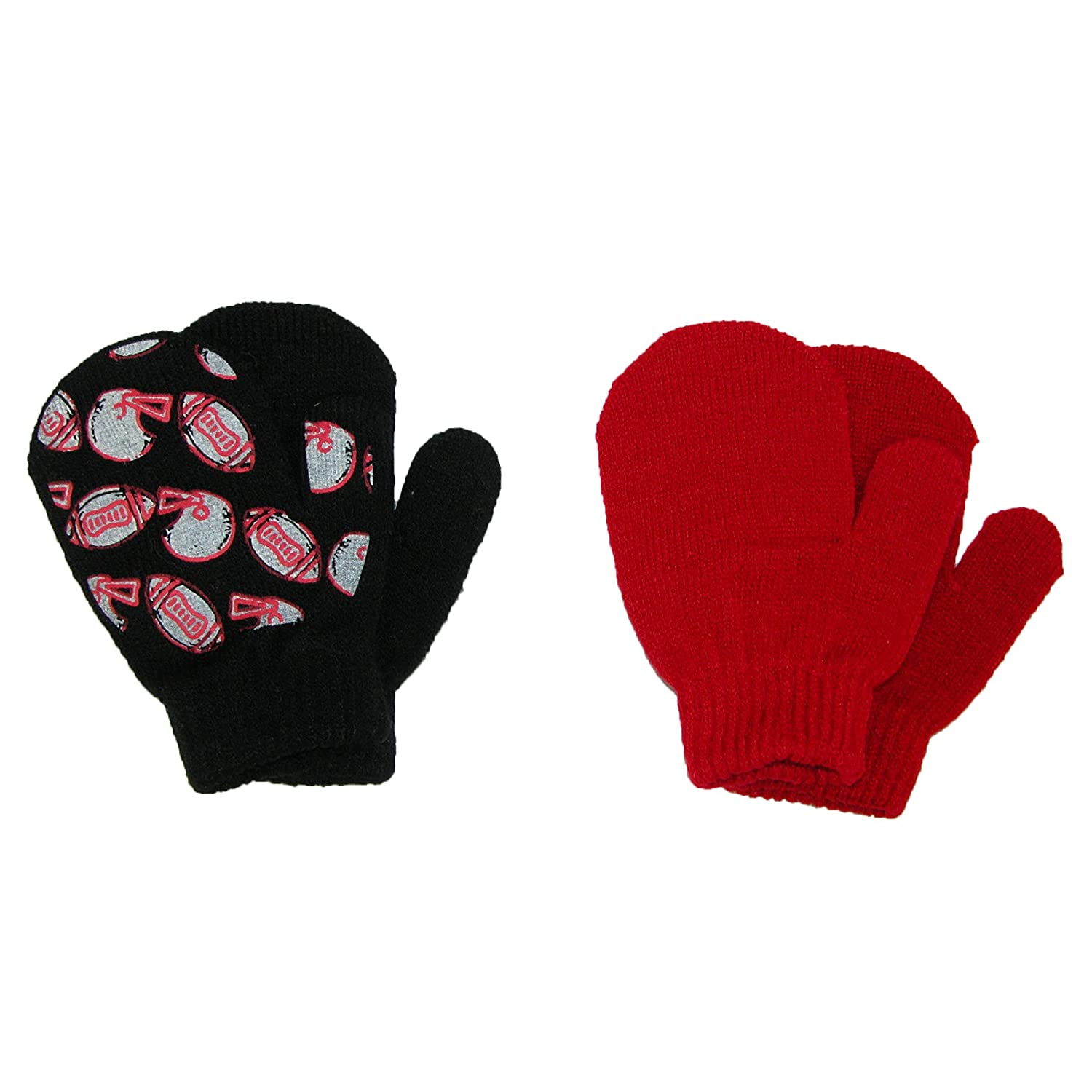 Aquarius Toddlers 2T / 4T Football and Solid Mittens (Pack of 2), Black