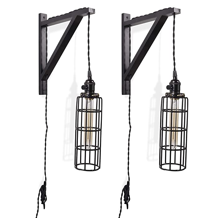 Rustic State 2 Vintage Farmhouse Design Wall Lamp Sconce Set with Wood Wall Bracket Cylinder Cage and Tube LED Energy Saver Edison Light Bulb