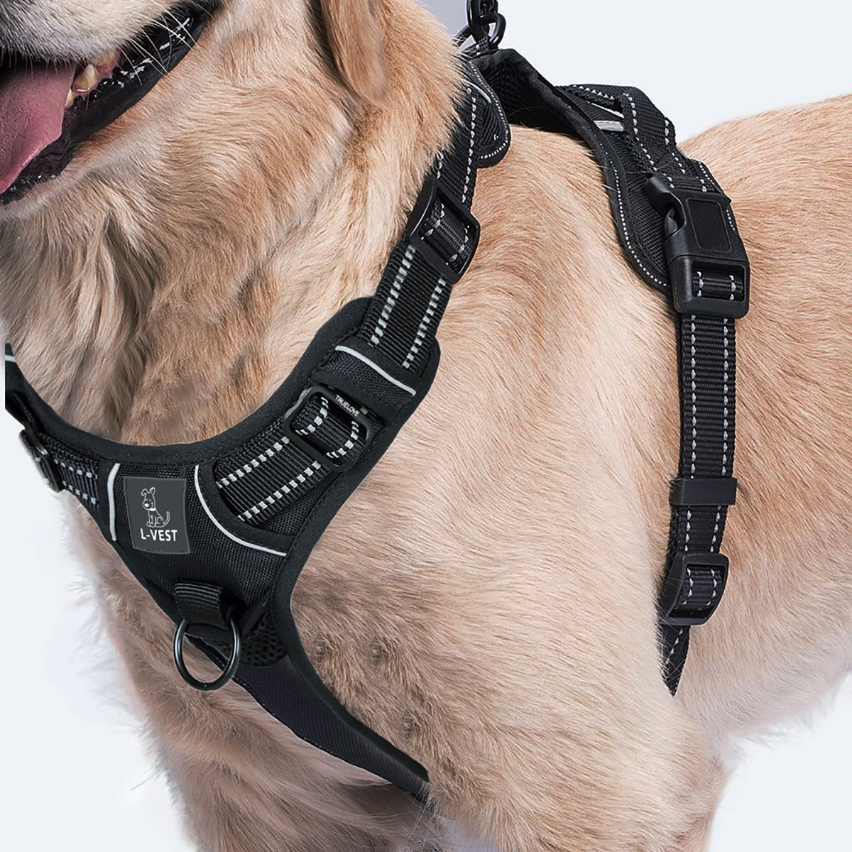 Dog Harness for Easy No Pull Walk - Attach Leash To Front Or Back Of Harnesses Vest To Prevent Pulling While Walking Or Training - See Size Chart Image (Black, Large)
