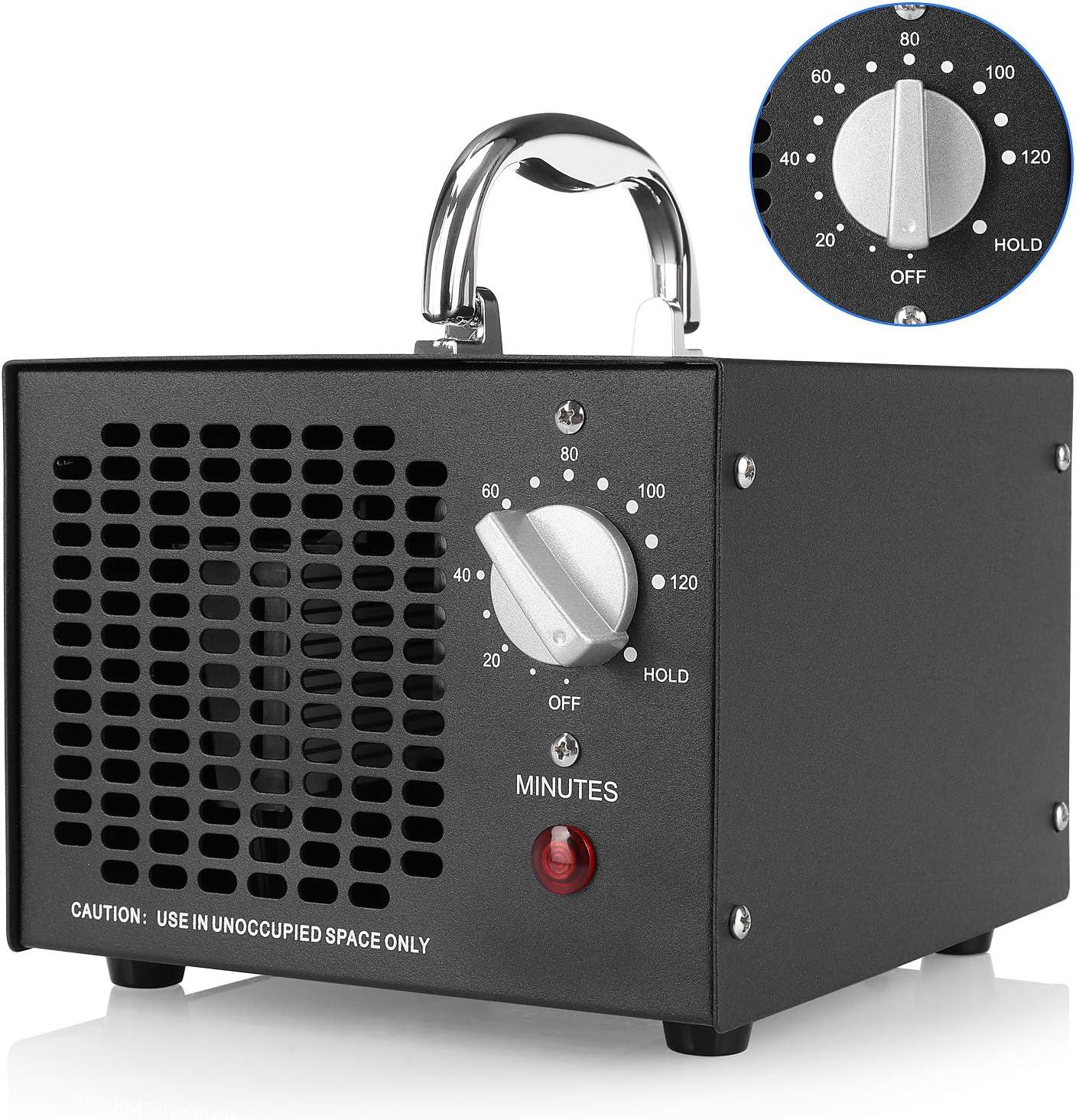 MVPower Generador de Ozono 5000mg/h,Purificador Ozono de Aire Profesional con Temporizador contra gérmenes, moho, malos olores, para habitaciones, humo, coches, oficina y mascotas, 17,4 x 18,4 x 14 cm