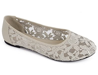 fcbf07289c7 Greatonu Beige Women Shoes Cut Out Slip On Synthetic Lace Ballet Flats 5 US
