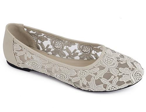 3ae666d1aed0f Greatonu Ballerines Plat Beige Round Toe avec Dentelle pour Fête Design  Élégant Mode pour Femmes Taille