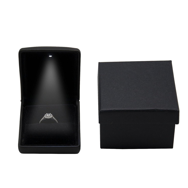 ALLEU caja joyero de para compromiso y boda caja del anillo LED negro