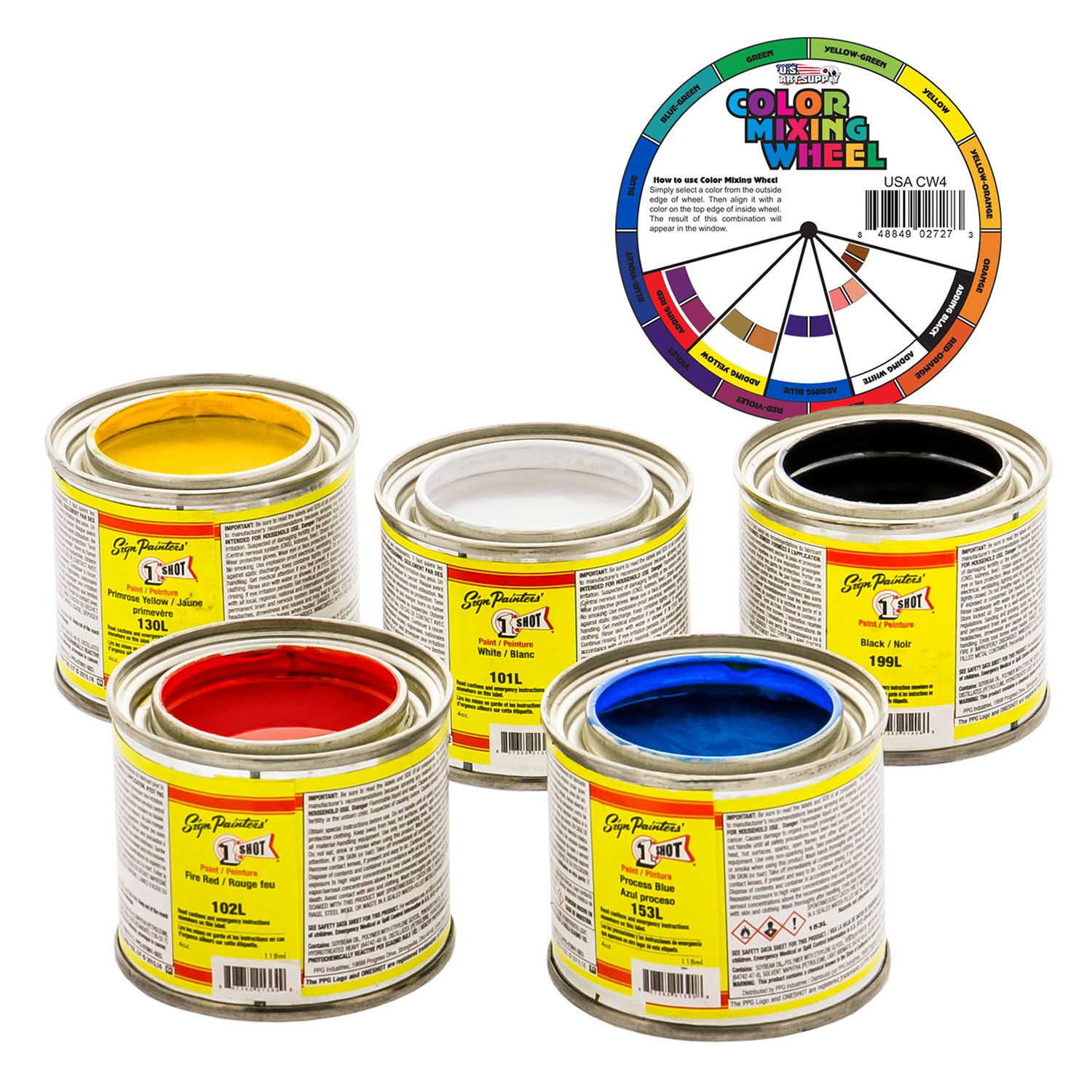 One Shot Color Kit White-Red-Yellow-Blue-Black 1 Shot