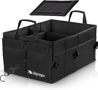Black Durable Storage SUV Cargo Organizer Adjustable Starlings Car Trunk Organizer