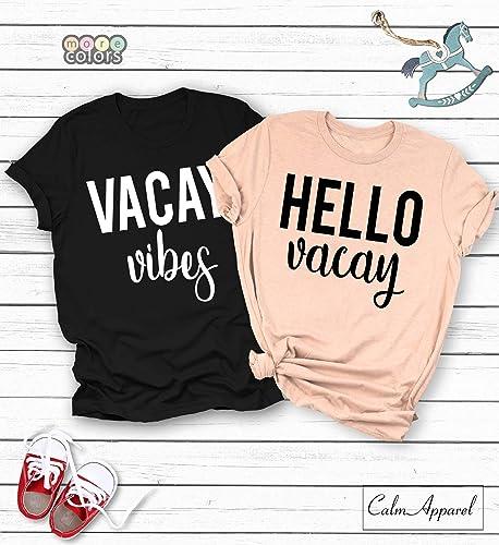 01af5f078 Amazon.com: Vacay Vibes, Hello Vacay Shirt, Women Cute T-shirt, Vacation  Couple Tee, Unisex Trendy, Cruise Shirt, Ladies Graphic Tee: Handmade