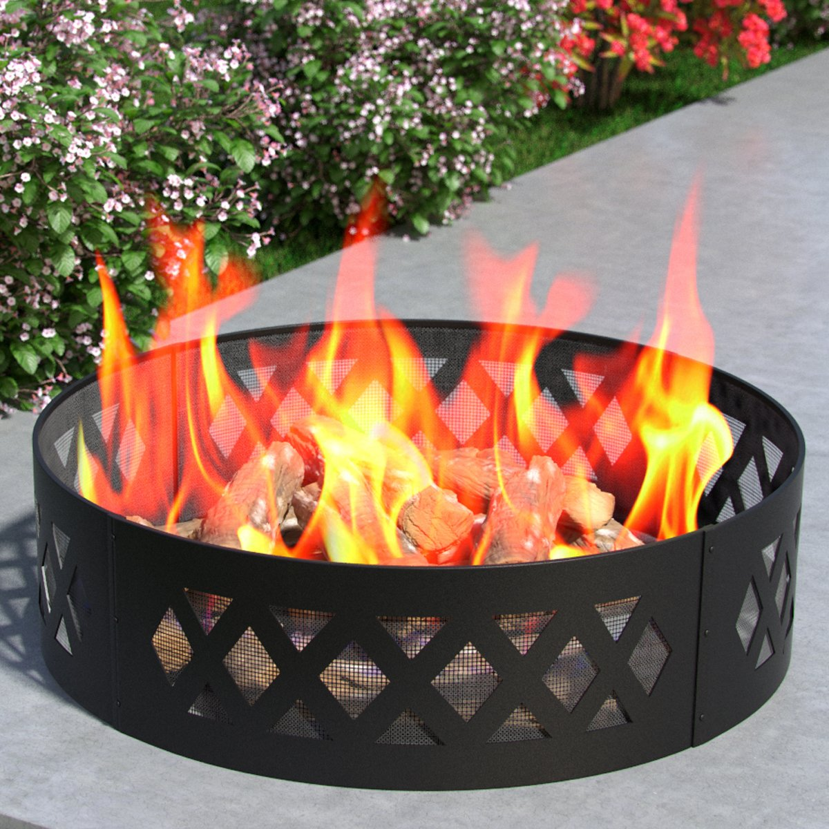 Heavy Duty Crossweave 38 Inch Backyard Garden Home Running Horse Light Wood Fire Pit Fire Ring. For RV, Camping, and Outdoor Fireplace. Similar Firewood Patio Heater, Stove or Firebowl without Propane by Regal Flame