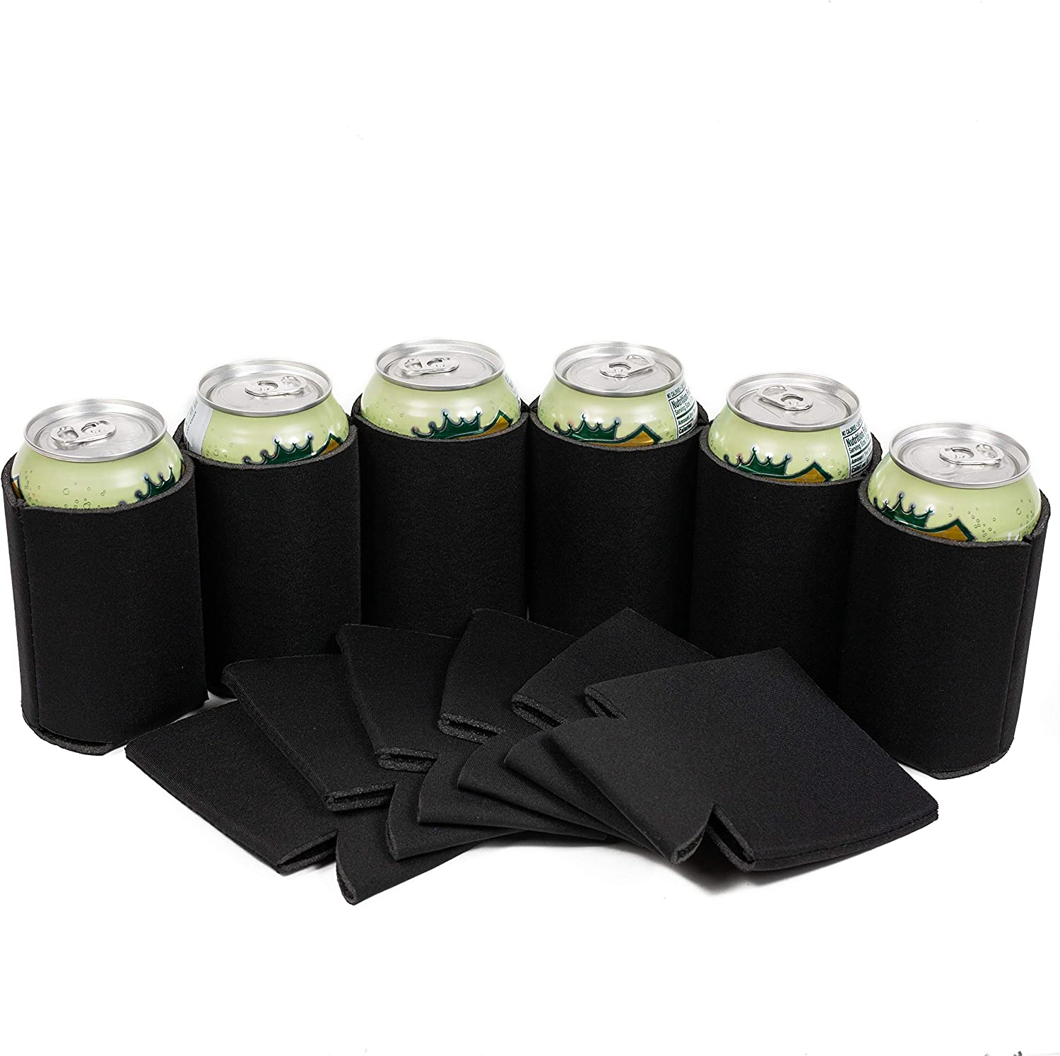 QualityPerfection Beer Can Cooler Sleeves Blank,Coolies Sublimation HTV Insulated,Collapsible Coolers (Black, 100)