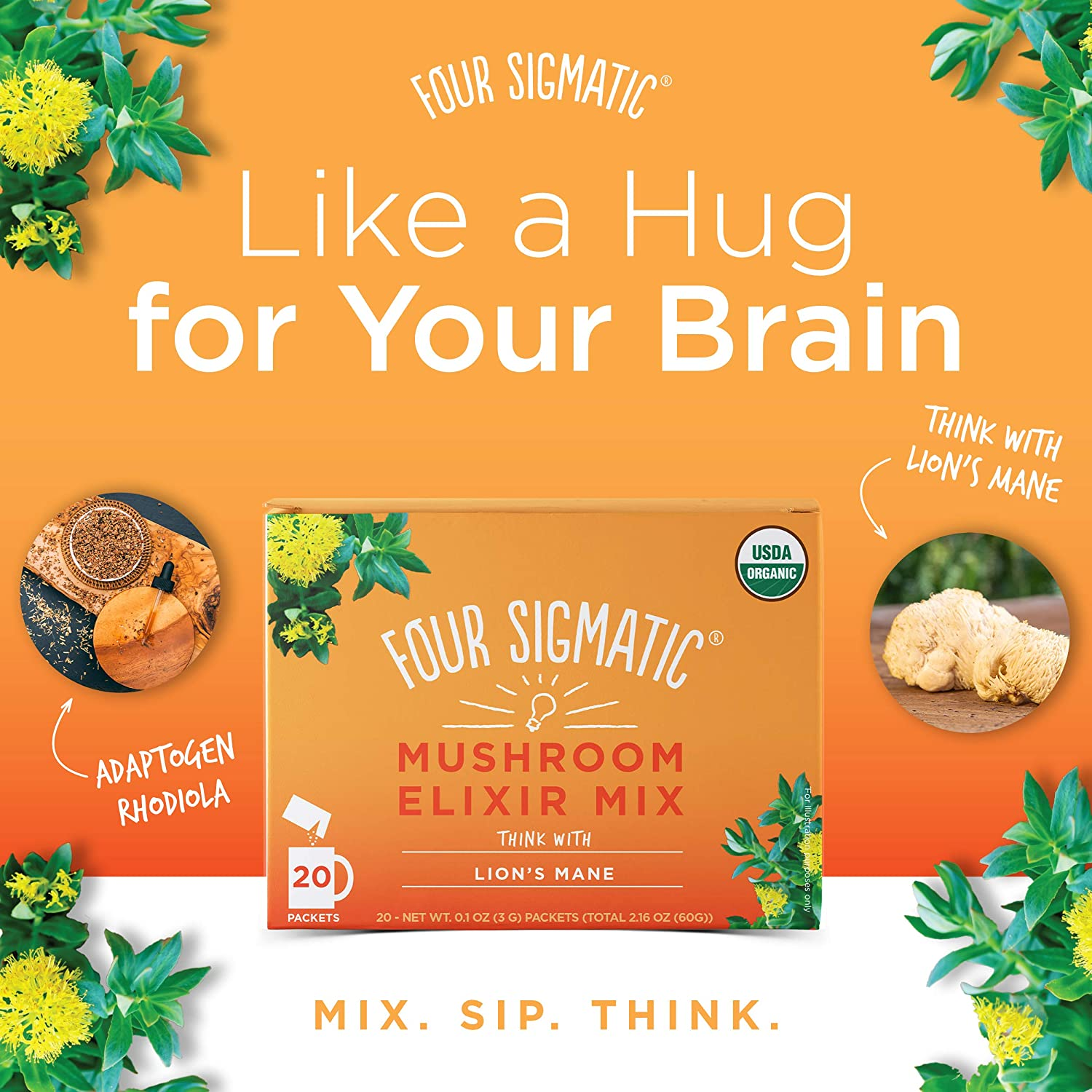 Four Sigmatic Lion s Mane Mushroom Elixir – USDA Organic Lions Mane Mushroom Powder – Memory, Focus, Creativity – Vegan, Paleo – 20 Count