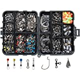 JSHANMEI 160pcs/box Fishing Tackle Box Kit, Including Jig Hooks, Bullet Bass Casting Sinker Weights, Different Fishing Swivels Snaps, Sinker Slides, Fishing Line Beads, Fishing Accessories Set with Tackle Box
