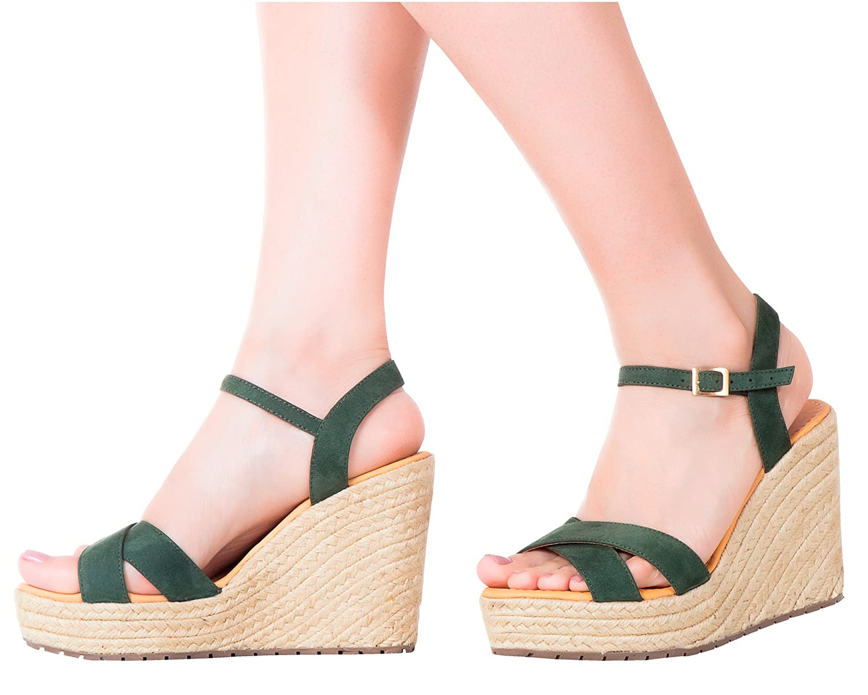 Vida Leather Women Ankle Tie Platform Espadrille Sandals   Sandalias de DAMA B0755MYV3P 8 B(M) US Olive