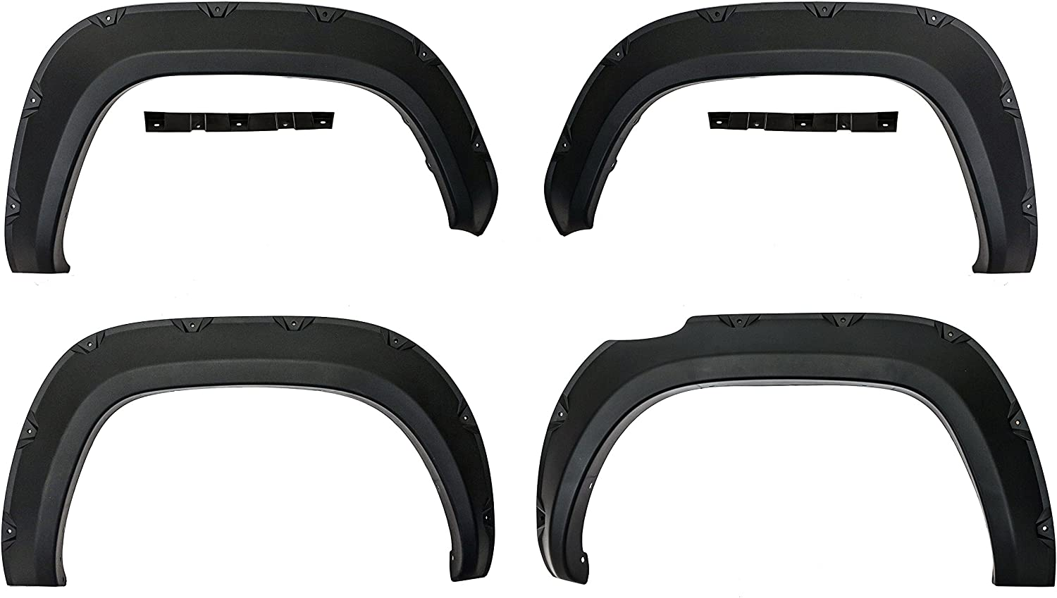 Galaxy Auto Fender Flares for 2016-20 Toyota Tacoma 4 Piece Set Pocket Riveted Style in Paintable Smooth Matte Black