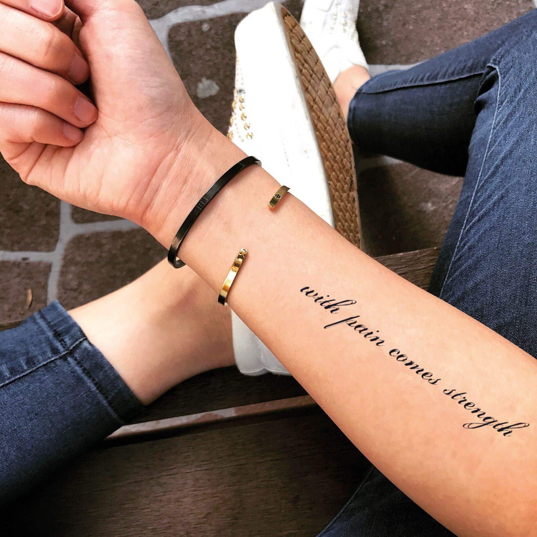 Tatuaje Temporal de Con dolor viene la fuerza (2 Piezas) - www ...
