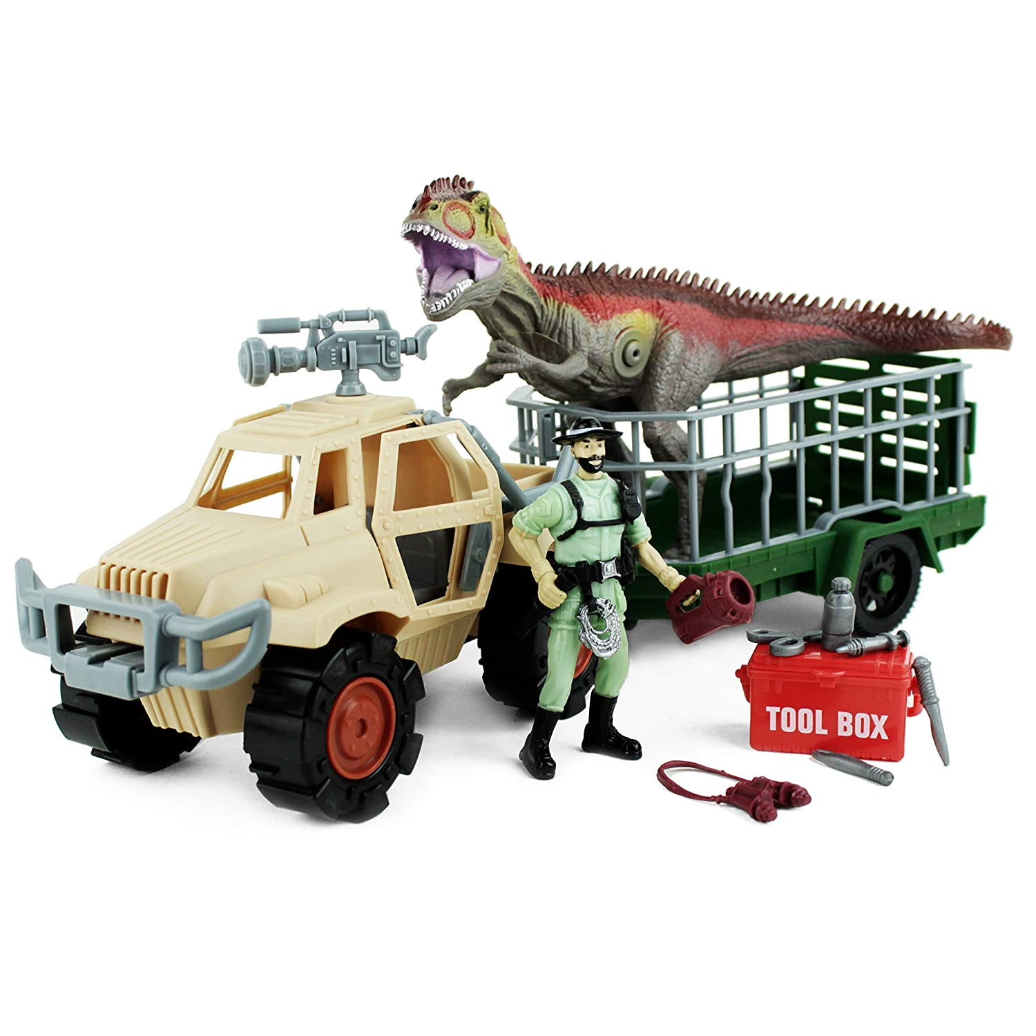 Boley Dinosaur Explorer Toy - Includes a Roaring T-Rex Dinosaur - 13 Piece Playset - Offers Hours of Pretend Play!