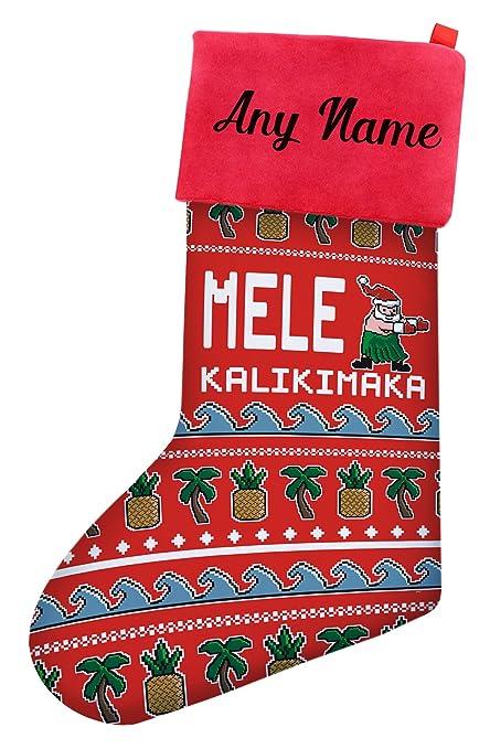 christmas stockings for kids mele kalikimaka hawaiian santa ugly christmas sweater themed christmas stockings for boys - Christmas Stockings For Kids