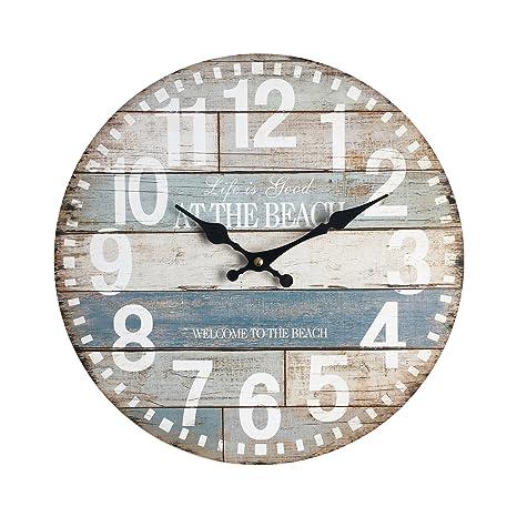 Rebecca Mobili Reloj Decorativo Pared Rustico Shabby MDF Reloj Analogico Salón Dormitorio - Ø 33,