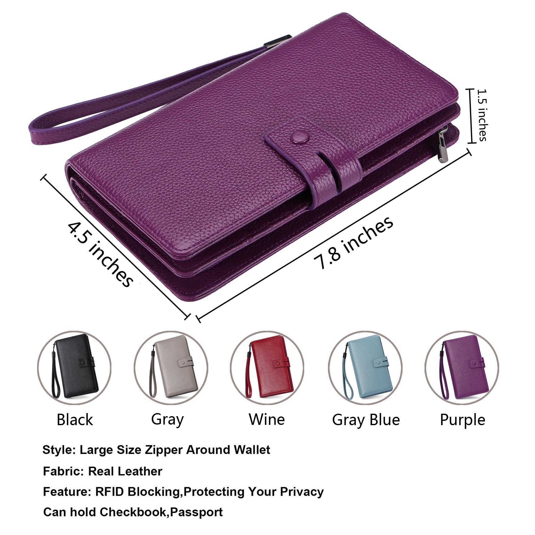 AINIMOER Women's Big RFID Blocking Leather Zip Around Wallets for Womens Clutch Organizer Checkbook Holder Large Travel Purse(Lichee Purple) by AINIMOER (Image #3)