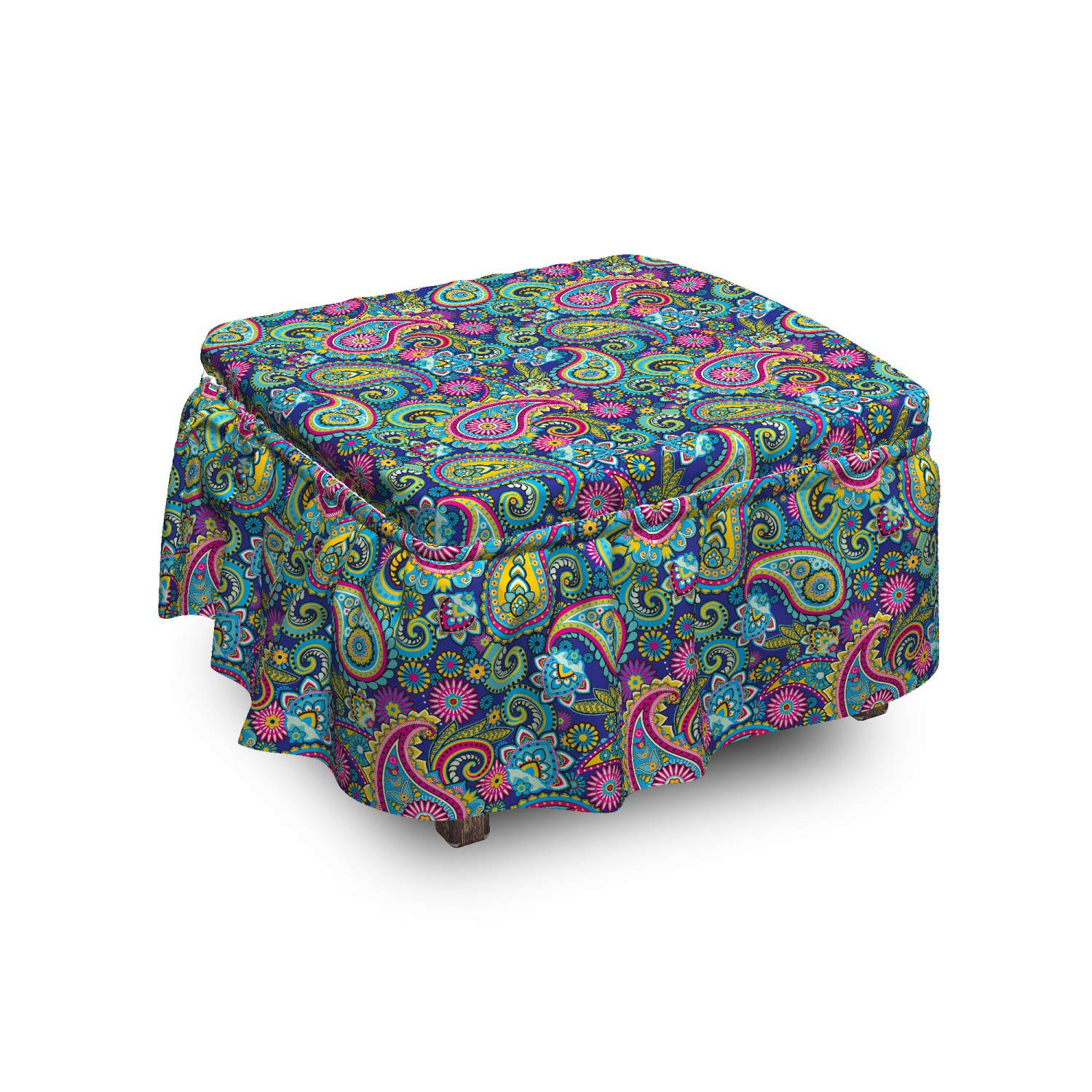 Ambesonne Paisley Ottoman Cover, Bohem Colorful, 2 Piece Slipcover Set with Ruffle Skirt for Square Round Cube Footstool Decorative Home Accent, Standard Size, Multicolor by Ambesonne