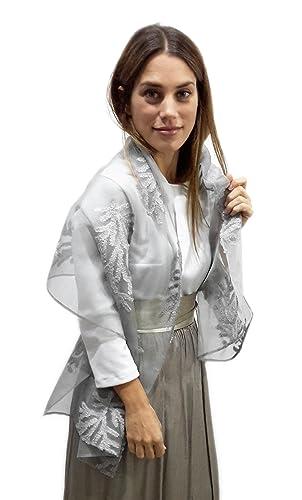 BRANDELIA Estolas Fiesta Mujer Novia Chal Gasa Bordada Gris Plateada para Vestidos de Fiesta: Amazon.es: Ropa y accesorios