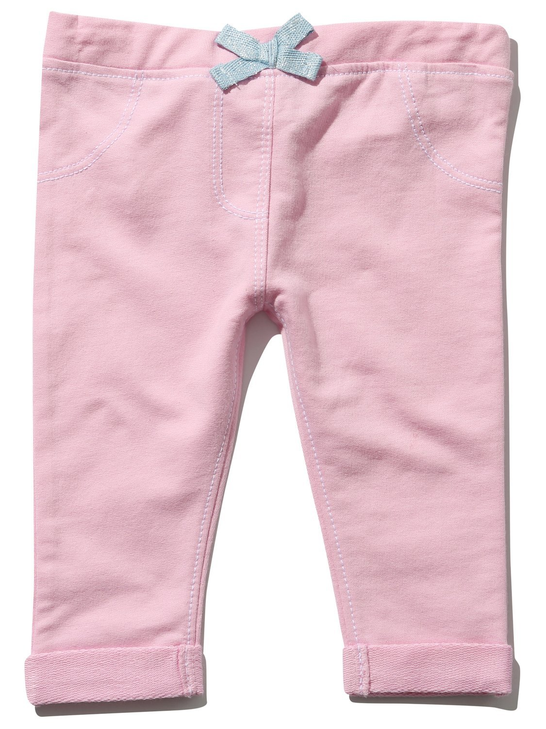 M&Co Baby Girl Plain Pink Elasticated Waist Bow Front Turn Ups Stitch Detail Jeggings