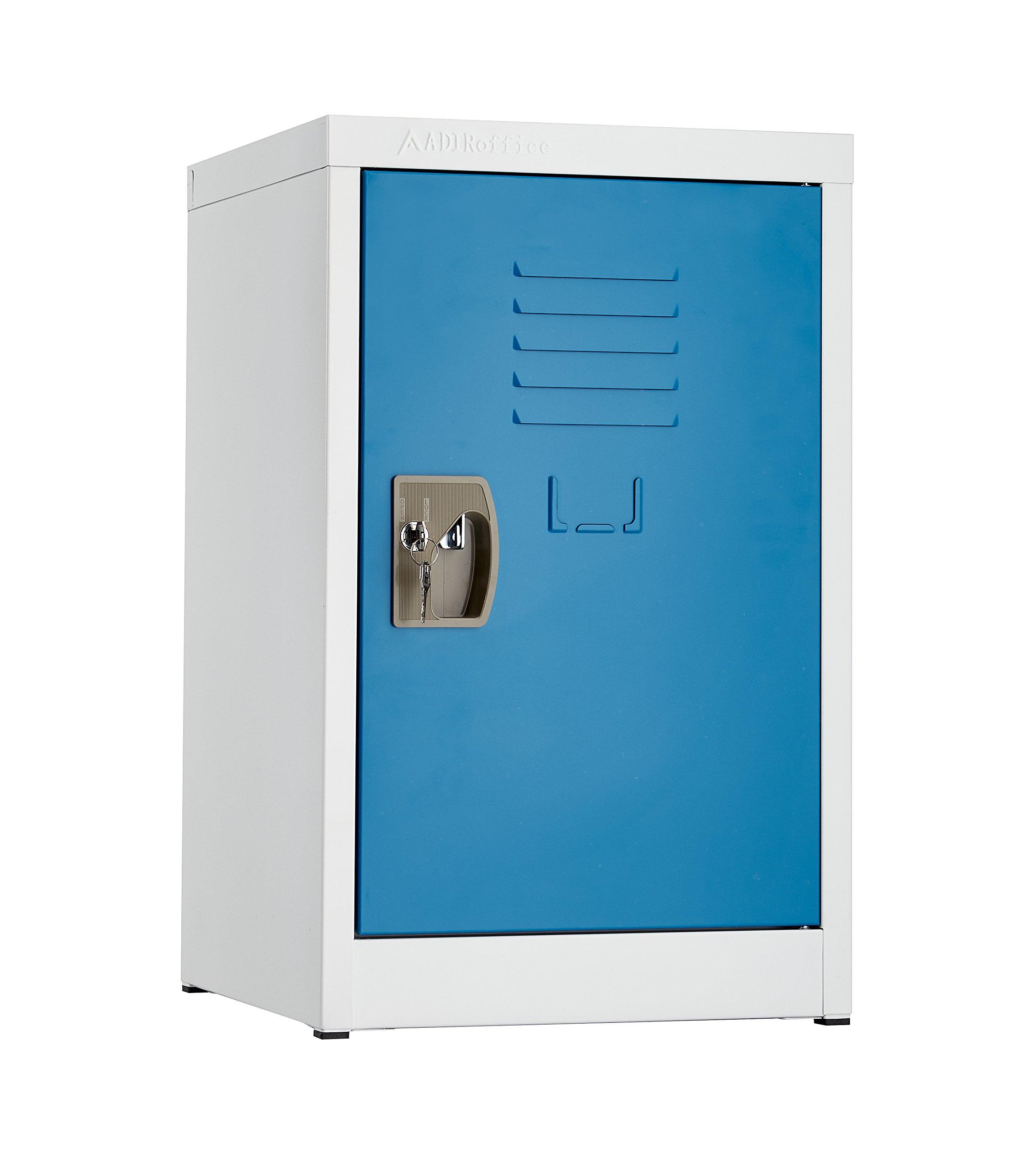 AdirOffice Kids Steel Metal Storage Locker - For Home & School - With Key & Hanging Rods (24 Inch, Blue)