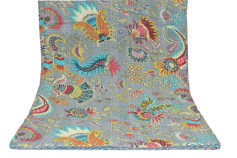 Bed Cover Bohemian Bedding Size 90x108 Inch Sophia Art Light Grey Multicolor Mukut Print King Size Kantha Quilt King Kantha bedspread Kantha Blanket