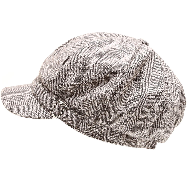 MIRMARU Women's Classic Visor Baker boy Cap Newsboy Cabbie Winter Cozy Hat with Comfort Elastic Back MM-DY-FWCAB1553-BLACK