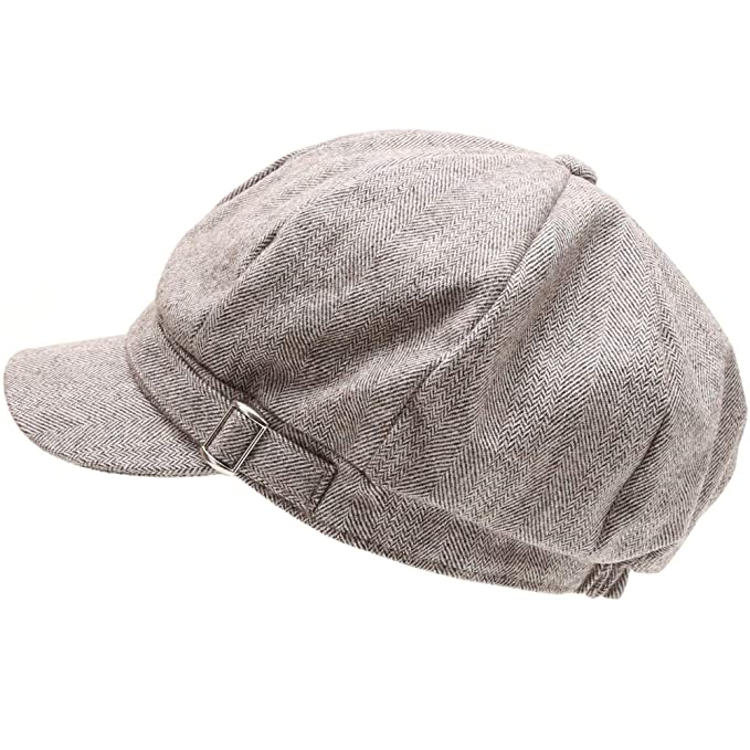 0070ec17 MIRMARU Women's Classic Visor Baker boy Cap Newsboy Cabbie Winter Cozy Hat  with Comfort Elastic Back (Herring Lt. Brown) at Amazon Men's Clothing  store: