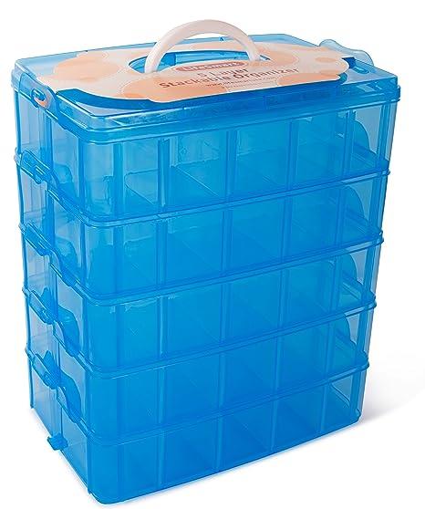 Amazoncom LifeSmart USA Stackable Storage Container Blue 50