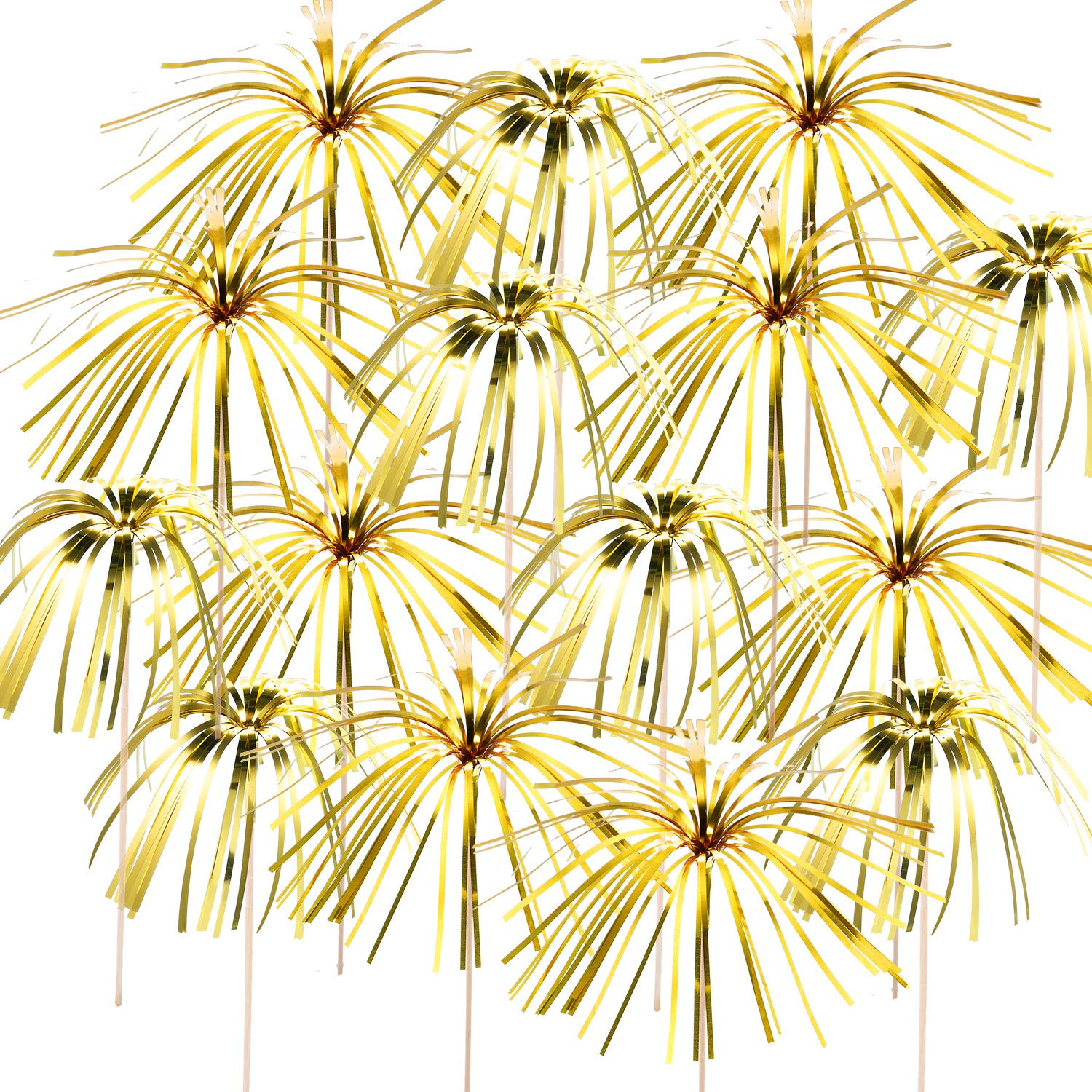 TecUnite 100 Pieces Foil Frill Firework Cupcake Picks Christmas Cupcake Topper 9 Inch Coconut Tree Shape, Food Picks Supplies Party Decoration (Gold)