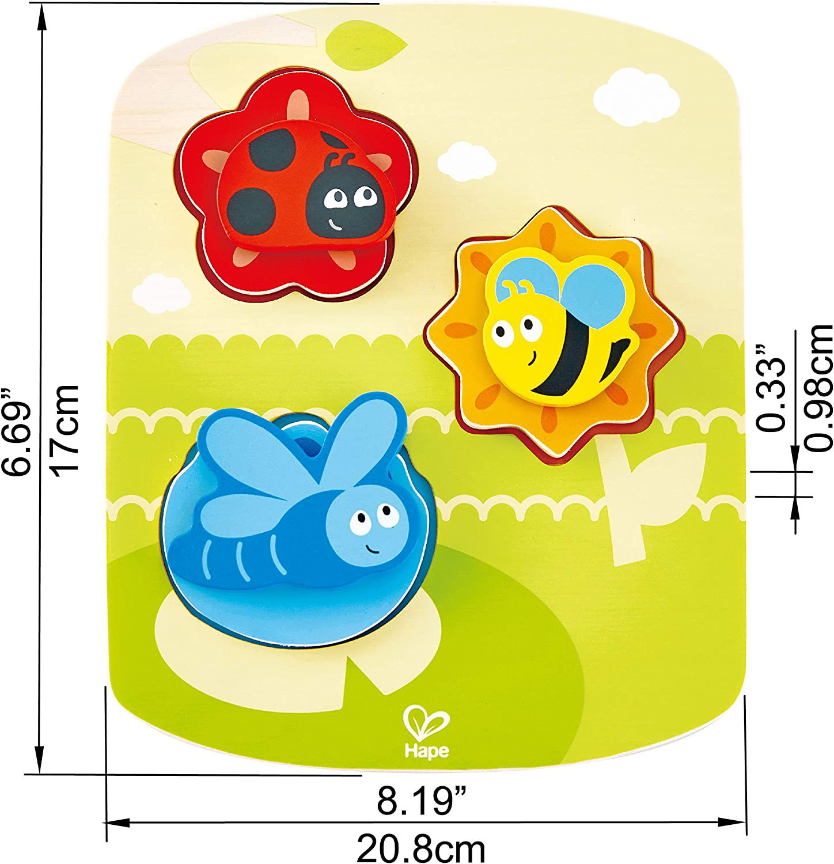 Multicolor Hape International Hape E1610 Dynamisches Tier-Puzzle Puzle Mascotas Din/ámico