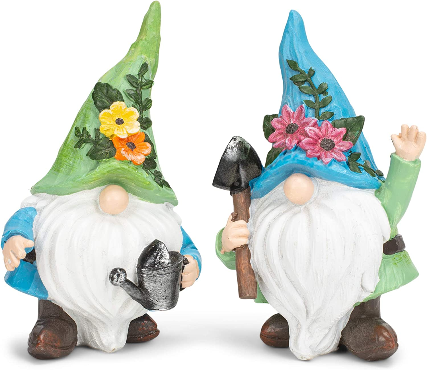 Flower Gnome Sky Blue and Green 5.75 Inches Polyresin Outdoor Garden Statue Set of 2
