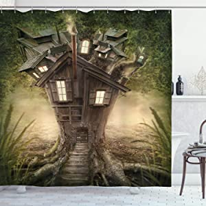 Ambesonne Mystic Shower Curtain, Fantasy Tree House in The Mysterious Forest Windows and Smoke Chimney Image, Cloth Fabric Bathroom Decor Set with Hooks, 70