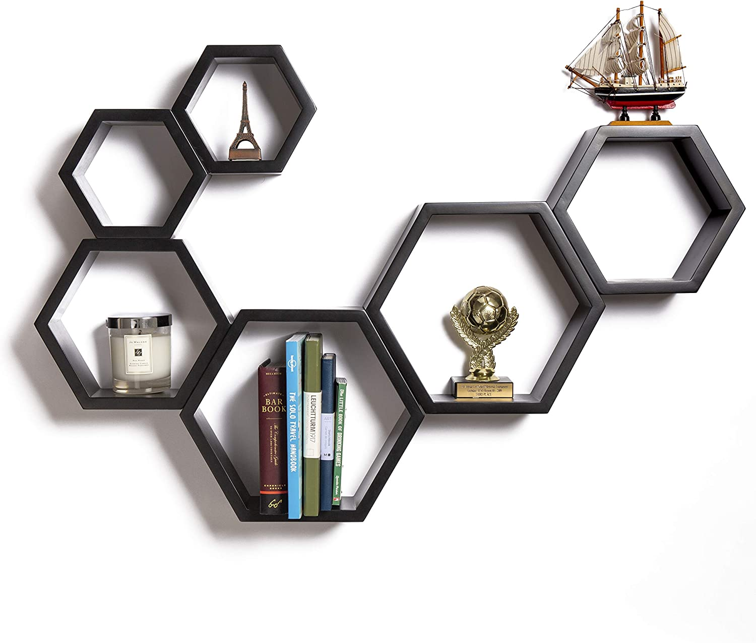 Hexagon Floating Shelves – Modern Honeycomb Shelves – Wall Mounted Geometric Wood Decor for Living Room, Kitchen and Bedroom – Screws and Anchors Included (Black, Set of 6)