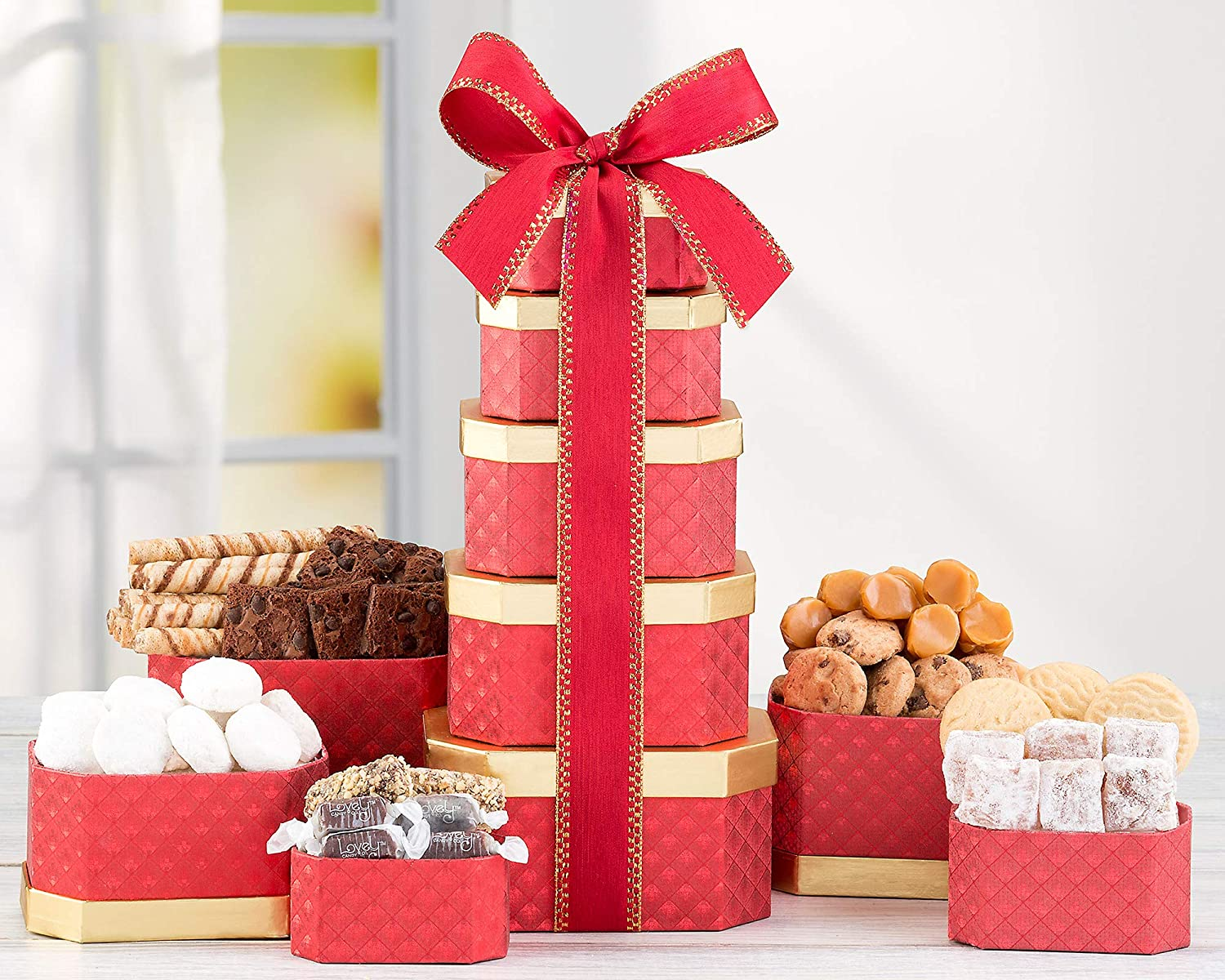 Amazon.com : Truffle, Cookie & Chocolate Holiday Gift Tower By Wine Country Gift Basket Loaded With Lindt Lindor, Yves Thuries and More!