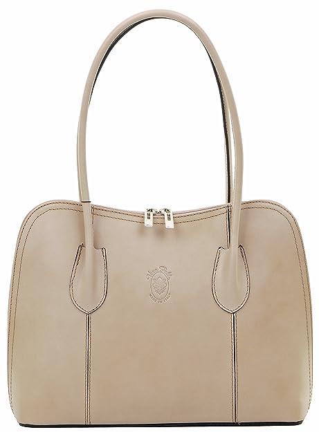 Primo Sacchi® italien en cuir beige lisse main Made style classique long  manche sac à 4fa425e93567