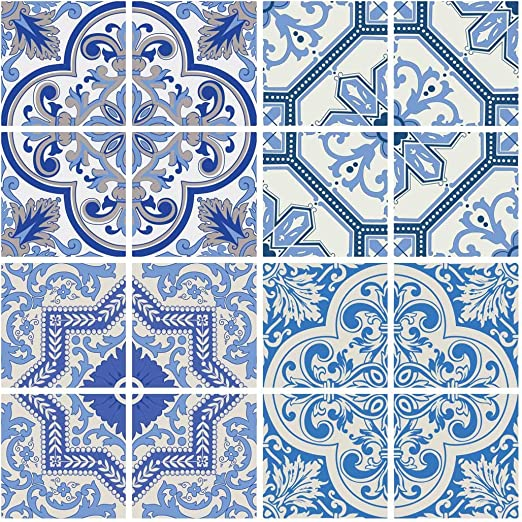 Amazon Com Royalwallskins Moroccan Blue Tile Decals 4x4 Inch Set Of 16 Diy Self Adhesive Peel And Stick Tile Stickers For Backsplash Bathroom Kitchen Home Decor Coimbra Tad160611 Home Kitchen