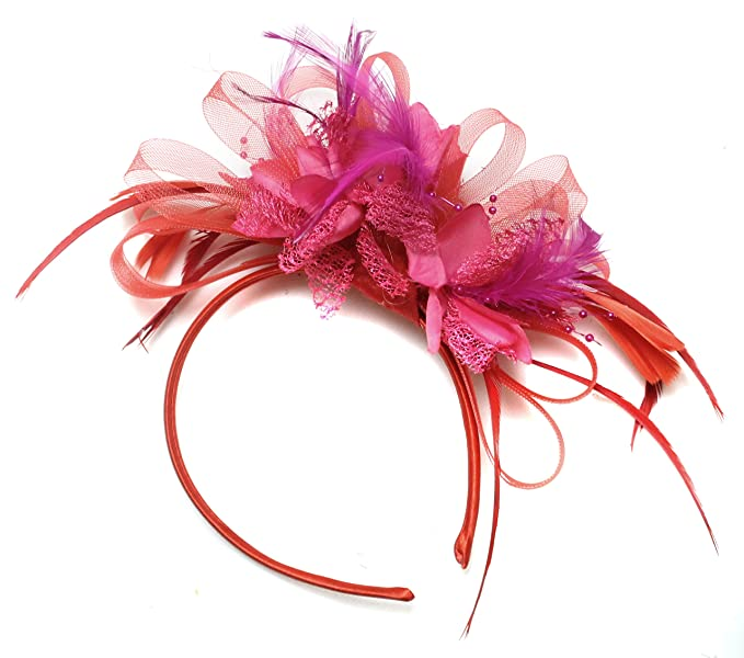 Image Unavailable. Image not available for. Color  Red and Fuchsia Hot Pink  Fascinator Headband ... 9c695faefc5