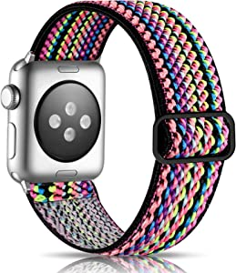 Getino Adjustable Elastic Bands Compatible with Apple Watch 40mm 38mm Series 6 5 4 3 2 1 iWatch SE, Soft Stylish Cute Stretch Bracelet Band for Women Men, Colorful Rope