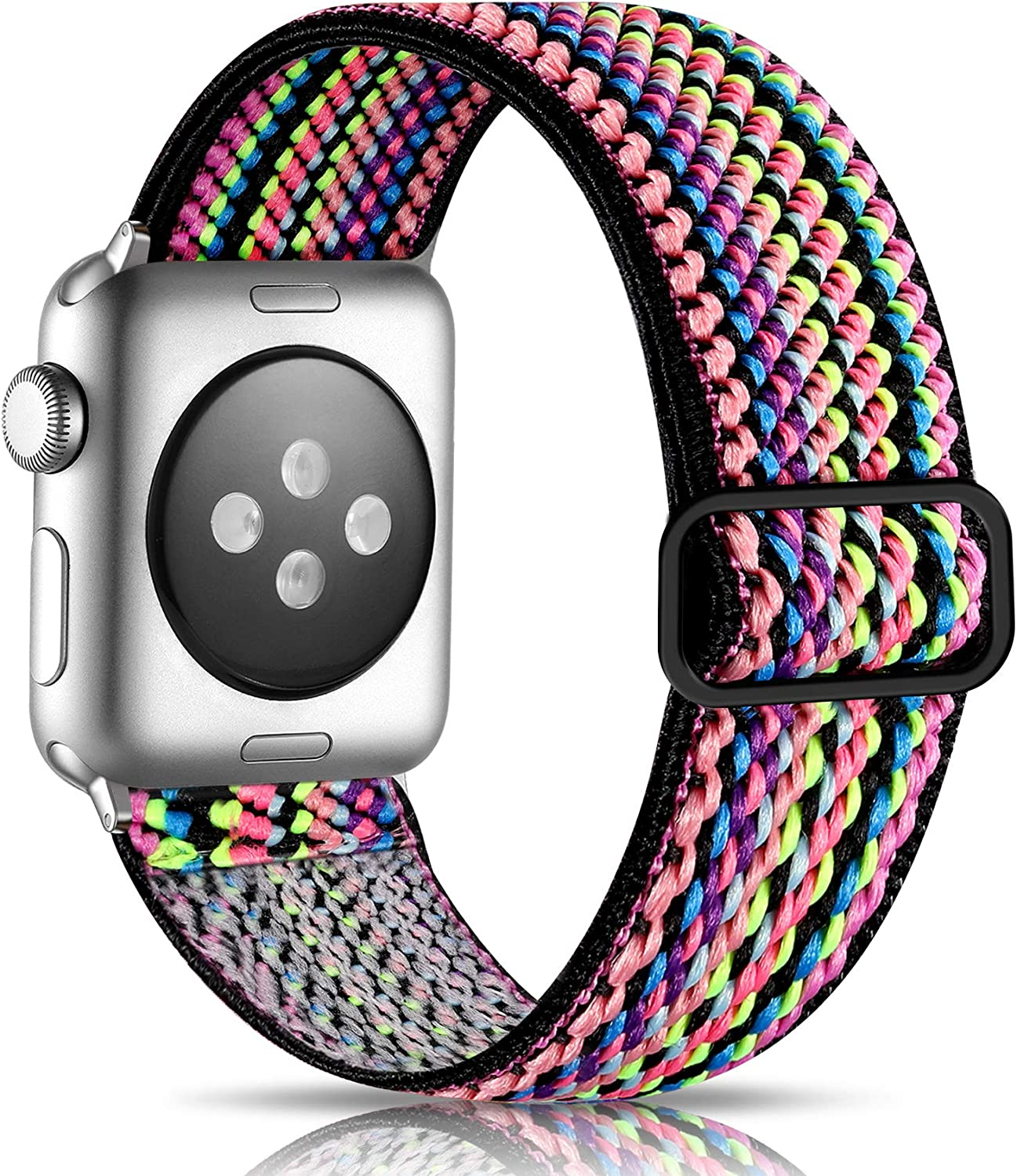 Getino Adjustable Elastic Band Compatible with Apple Watch 40mm 38mm 42mm 44mm for Women Men, Soft Stylish Cute Stretchy Woven Fabric Pattern Sport Strap Wristband for iWatch SE & Series 6 5 4 3 2 1