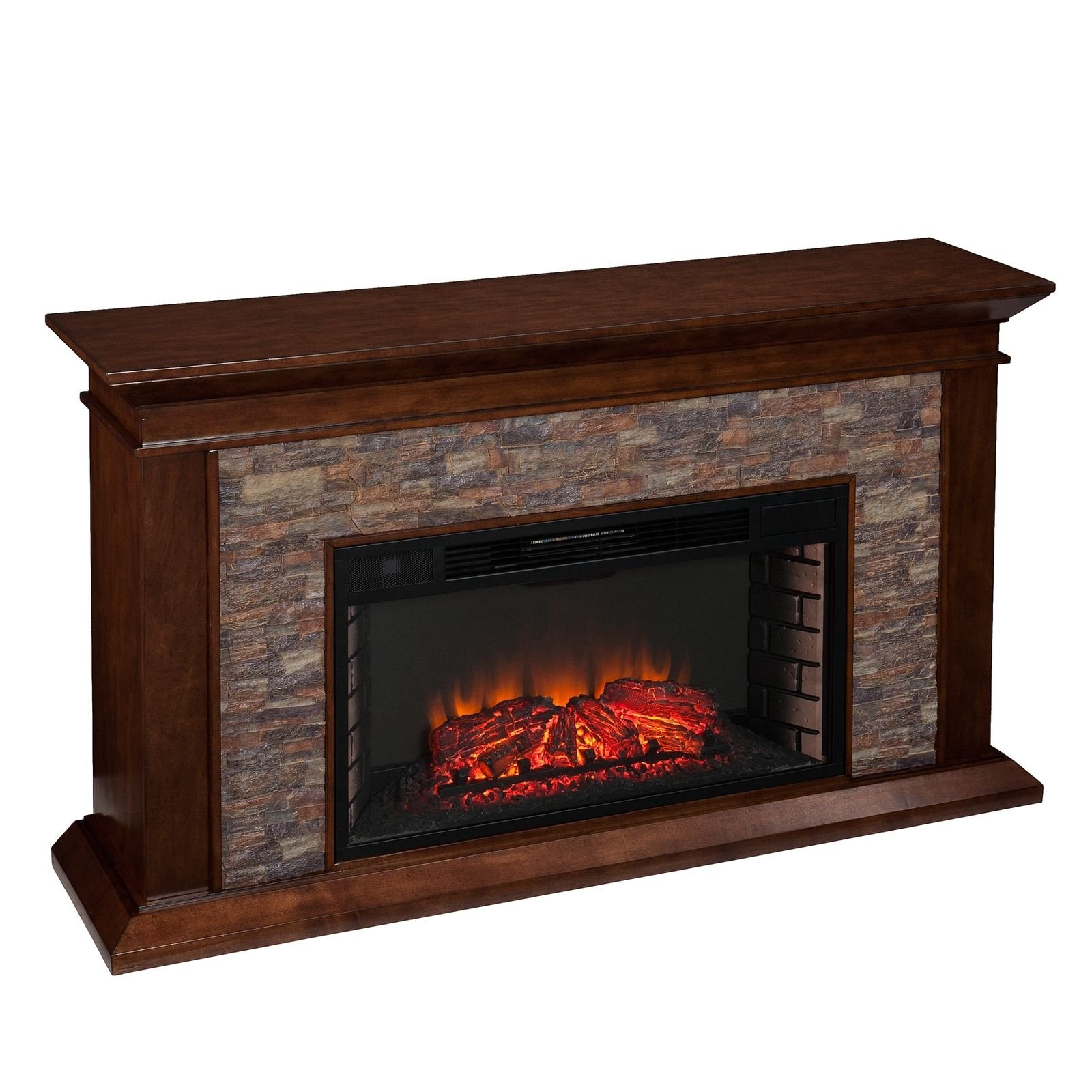 Harper Blvd Utley 60-inch Simulated Stone Electric Fireplace Extra wide fireplace ignites senses